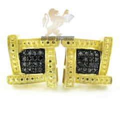 .925 Yellow Sterling Silver Diamond Cut  Black Diamond Earrings 0.25ct