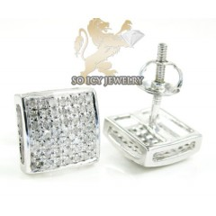 .925 White Sterling Silver White Diamond Earrings 0.65ct