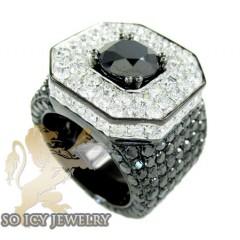 Mens 10k Black Gold White & Black Diamond Xl Ring 21.35ct