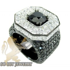 Mens 10k Black Gold White & Black Diamond Xl Ring 21.35ct