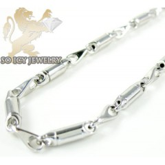 14k White Gold Bullet Link Chain 22 Inch 2.5mm