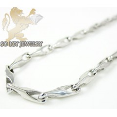 14k White Gold Bullet Link Chain 20 Inch 1.8mm