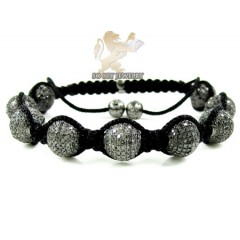 10k Black Gold Macramé Faceted Bead Rope Black Diamond Bracelet 7.86ct