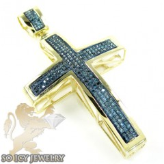 10k Yellow Gold Round Blue Diamond Pave Cross 0.62ct