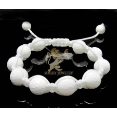 Macramé White Onyx Faceted Bead Rope Bracelet