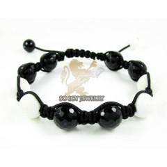 Macramé White & Black Onyx Faceted Bead Rope Bracelet