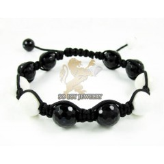Macramé White & Black Onyx Faceted Bead Rope Bracelet