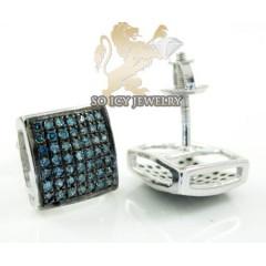 .925 White Sterling Silver Blue Diamond Earrings 0.75ct
