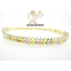 Ladies .925 Tri Color Double Circle Diamond Cut Bead Bangle Bracelet
