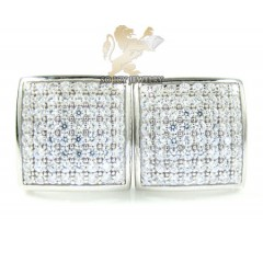 .925 White Sterling Silver Cz Earrings 0.75ct