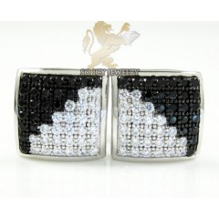 .925 White Sterling Silver Black & White Cz Earrings 0.70ct