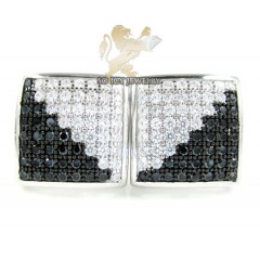 .925 White Sterling Silver Black & White Cz Earrings 0.75ct