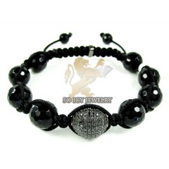 Black Sterling Silver Black Cz Macramé Faceted Bead Rope Bracelet 0.75ct