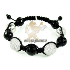 White Sterling Silver Black Cz Macramé Faceted Bead Rope Bracelet 3.00ct