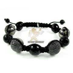 Black Sterling Silver Black Cz Macramé Faceted Bead Rope Bracelet 3.00ct