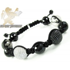 White Silver White Black & White Cz Macramé Faceted Bead Rope Bracelet 3.50ct