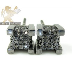 10k Black Gold Diamond Cluster Earrings 0.19ct