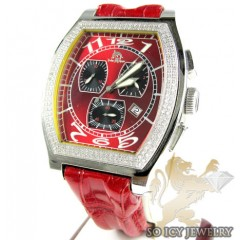 Mens Techno Master Diamond Red Watch 1.00ct