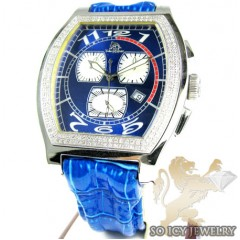 Mens Techno Master Diamond Blue Watch 1.00ct