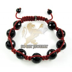 Macramé Black Onyx Faceted Bead Dark Red Rope Bracelet