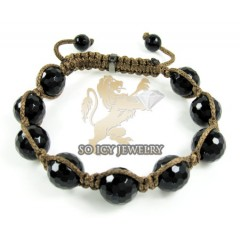 Macramé Black Onyx Faceted Bead Brown Rope Bracelet