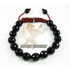 Macramé Black Onyx Faceted Bead Dark Red Rope Bracelet