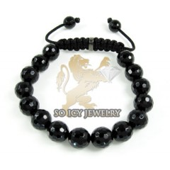 Macramé Black Onyx Faceted Bead Rope Bracelet
