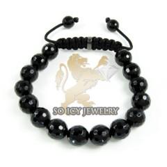 Macramé Black Onyx Faceted Bead Rope Bracelet