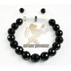 Macramé Black Onyx Faceted Bead White Rope Bracelet