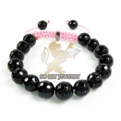 Macramé Black Onyx Faceted Bead Pink Rope Bracelet