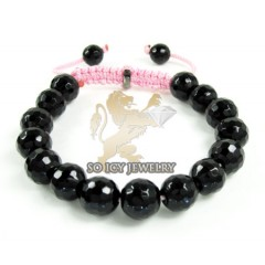 Macramé Black Onyx Faceted Bead Pink Rope Bracelet