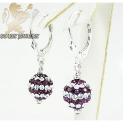 Ladies .925 White Sterling Silver Purple & White Cz Earrings 1.00ct