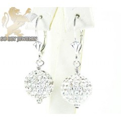Ladies .925 white sterling silver white cz earrings 1.00ct