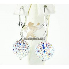 Ladies .925 white sterling silver multi color cz earrings 1.00ct