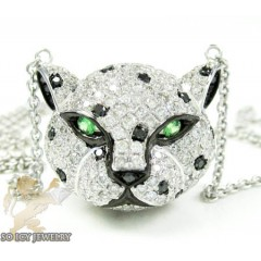 Ladies 18k White Gold Tiger Head Diamond Pendant 2.00ct