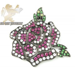 Ladies 18k Black Gold Flower Diamond Pendant 0.70ct