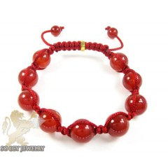 Macramé Red Onyx Smooth Bead Red Rope Bracelet