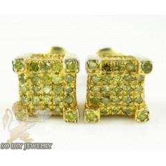 .925 Yellow Sterling Silver Canary Diamond Earrings 0.35ct