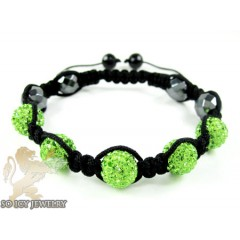 Neon Green Rhinestone Macramé Faceted Bead Rope Bracelet 5.00ct
