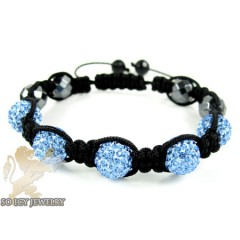 Baby Blue Rhinestone Macramé Faceted Bead Rope Bracelet 5.00ct