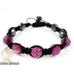 Dark Pink Rhinestone Macramé Faceted Bead Rope Bracelet 5.00ct