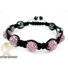 Pink Rhinestone Macramé Faceted Bead Rope Bracelet 5.00ct