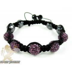 Purple Rhinestone Macramé Faceted Bead Rope Bracelet 5.00ct