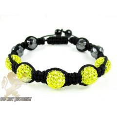 Yellow Rhinestone Macramé Faceted Bead Rope Bracelet 5.00ct