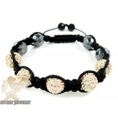 Champagne Rhinestone Macramé Faceted Bead Rope Bracelet 5.00ct