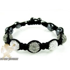 Black & White Rhinestone Macramé Faceted Bead Rope Bracelet 5.00ct