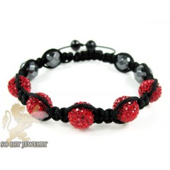 Red Rhinestone Macramé Faceted Bead Rope Bracelet 5.00ct