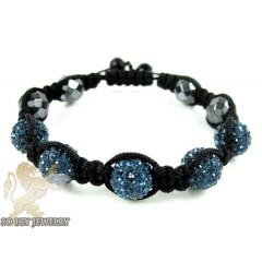 Dark Blue Rhinestone Macramé Faceted Bead Rope Bracelet 5.00ct