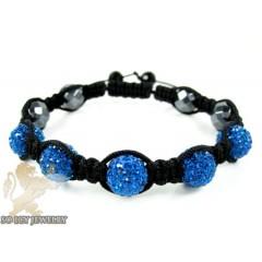 Blue Rhinestone Macramé Faceted Bead Rope Bracelet 5.00ct