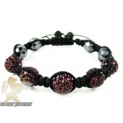 Dark Red Rhinestone Macramé Faceted Bead Rope Bracelet 5.00ct